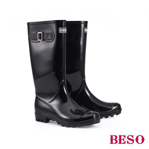 BESO-長筒簡約果凍晴雨靴-黑/