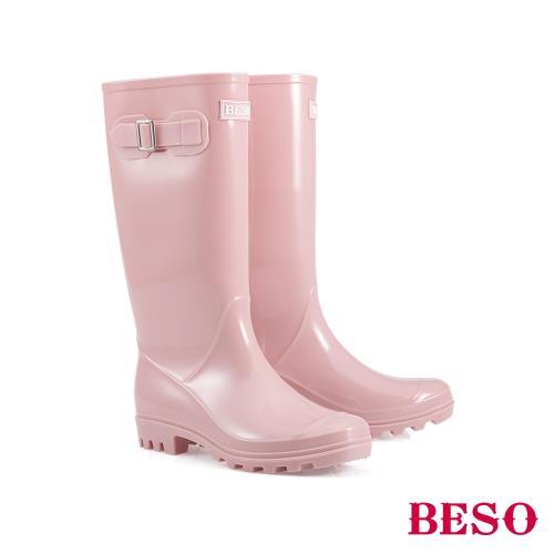 BESO-長筒簡約果凍晴雨靴-粉/