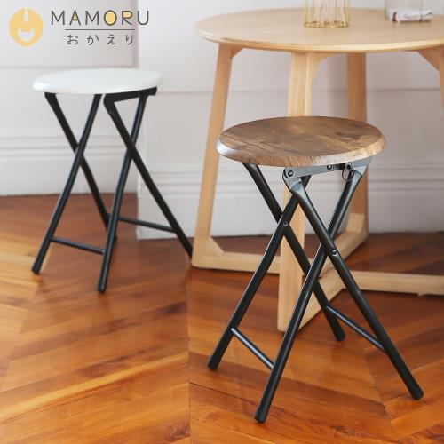 《MAMORU》和風木紋厚板摺疊椅凳(凳子/摺疊凳/戶外椅/穿鞋椅)/