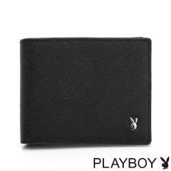 PLAYBOY- 基本短夾 Saffiano系列-黑色