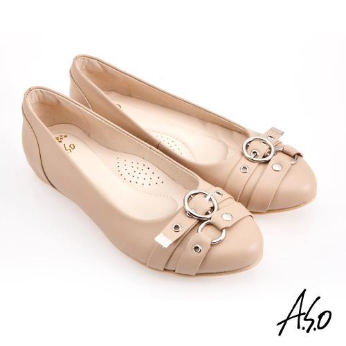 A.S.O-健步通勤水波紋蝴蝶結中跟鞋-米/