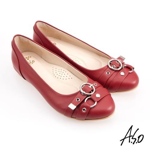 A.S.O-健步通勤水波紋蝴蝶結中跟鞋-紅/
