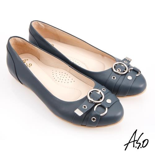 A.S.O-健步通勤水波紋蝴蝶結中跟鞋-深藍/