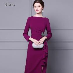 伊凡莎名媛時尚-法式典雅浪漫氣質綴飾顯瘦洋裝
