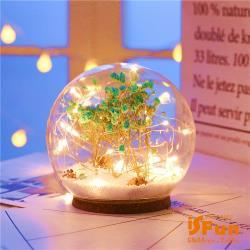 iSFun 夢幻水晶球 聖誕雪花情境玻璃球燈 藍乾燥花