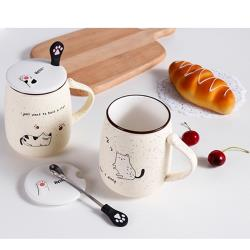 【可愛貓】陶瓷麥點馬克杯450ml+附湯匙X1/ 陶瓷馬克杯(隨機)