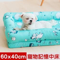 奶油獅-森林野餐-寵物記憶床墊-中40*60cm(10kg以下適用)-藍