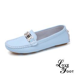 【LOVE FOOT 樂芙】真皮美鑽金屬釦飾超軟Q防滑休閒鞋 水藍