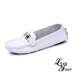 【LOVE FOOT 樂芙】真皮美鑽金屬釦飾超軟Q防滑休閒鞋 白