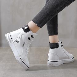 【WS】現+預 韓版皮面織帶高筒小白鞋