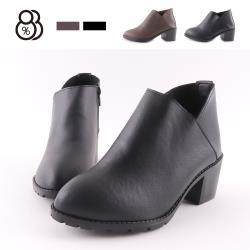 【88%】6CM短靴 MIT台灣製 率性百搭 筒高9.5CM皮革側拉鍊尖頭粗跟靴