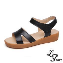 【LOVE FOOT 樂芙】真皮月牙線條縷空拼接舒適厚底涼鞋 黑