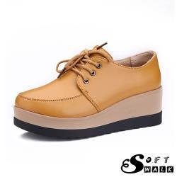 【SOFT WALK 舒步】真皮英倫風時尚厚底鬆糕牛津鞋 黃