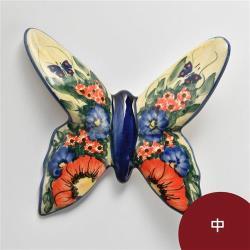 波蘭陶 奼紫嫣紅系列 蝴蝶勺架 中 波蘭手工製