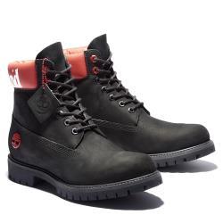 Timberland 男款黑色紅領LOGO防水6吋靴A1QTV001