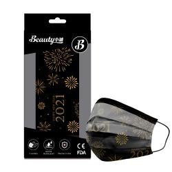【Beauty小舖】印花3層防護口罩_跨年版(黑)(10入/盒)- 符合CNS 14774國家檢驗標準
