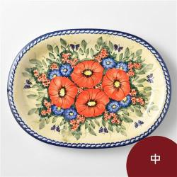 波蘭陶 奼紫嫣紅系列 橢圓盤 中 波蘭手工製