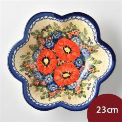 波蘭陶 奼紫嫣紅系列 花型深盤 23cm 波蘭手工製