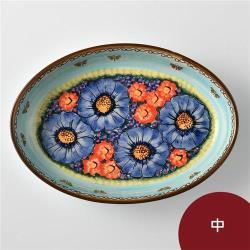 波蘭陶 水澤花坊系列 橢圓深盤 中 波蘭手工製