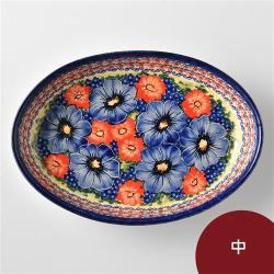 波蘭陶 仲夏紫蜜系列 橢圓深盤 中 波蘭手工製