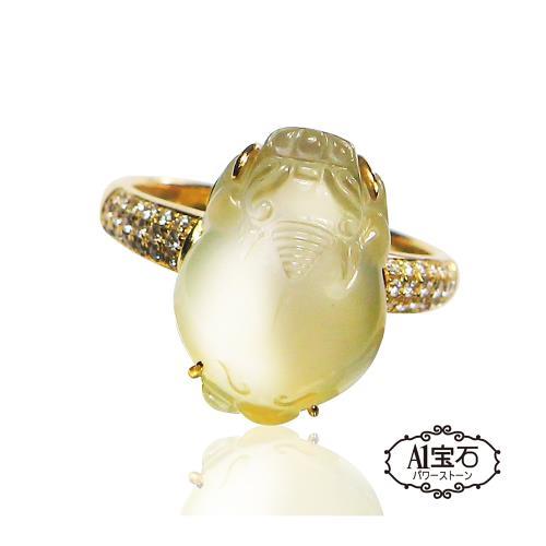 【A1寶石】天然緬甸A貨-收藏級玻璃種翡翠起螢光貔貅鑽石戒指-加贈玉石用手電筒(6-BR-45KT)/