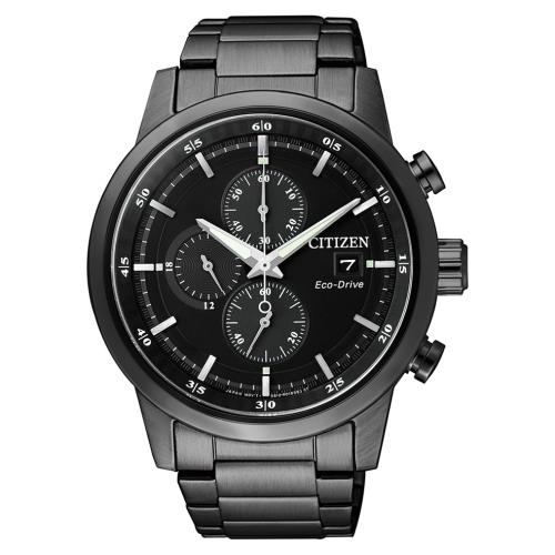 CITIZEN星辰CA0615-59E三眼計時光動能腕錶/
