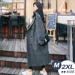 【LANNI 藍尼】現貨 顯瘦慵懶格子毛呢大衣(西裝/毛呢/外套/大衣)