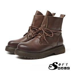 【SOFT WALK 舒步】真皮手工頭層牛皮復古臘繩綁帶造型馬丁靴 棕