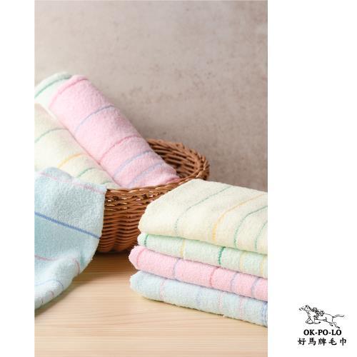 【OKPOLO】台灣製造單線條吸水毛巾-12入組
