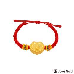 Disney迪士尼系列金飾 黃金編織手鍊-平安鎖米奇款-紅色