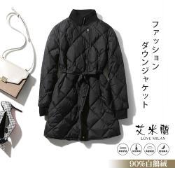 【艾米蘭】韓版翻領格紋白鵝絨保暖大衣 (S-L)