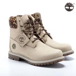 Timberland 女款淺米色磨砂革配豹纹防水6吋靴A2GY5269