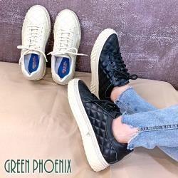 GREEN PHOENIX 國際精品經典菱格線水鑽綁帶義大利胎牛皮厚底休閒鞋/厚底鞋/潮鞋U28-22208