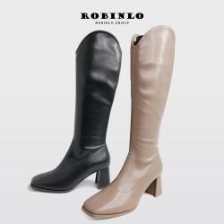 Robinlo 辣模極簡完美比例美型粗跟長靴SPEED-黑/卡其