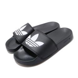 adidas 涼拖鞋 Adilette Lite 休閒 男女鞋 愛迪達 三葉草 軟底 舒適 夏日 情侶款 黑 白 FU8298 [ACS 跨運動]