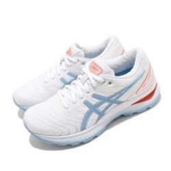 Asics 慢跑鞋 Gel Nimbus 22 運動休閒 女鞋 亞瑟士 路跑 緩震 透氣 亞瑟膠 白 藍 1012A587103 [ACS 跨運動]
