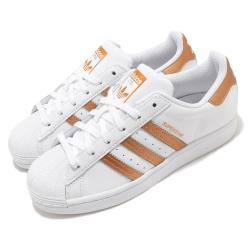 adidas 休閒鞋 Superstar 復古 低筒 女鞋 愛迪達 三葉草 貝殼頭 皮革鞋面 白 橘金 FX7484 [ACS 跨運動]