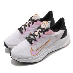 Nike 慢跑鞋 Zoom Winflo 7 運動 女鞋 氣墊 舒適 避震 路跑 健身 球鞋 粉 黑 CJ0302501 [ACS 跨運動]