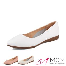 【MOM】真皮柔軟牛皮尖頭淺口舒適平底坡跟便鞋(3色任選)