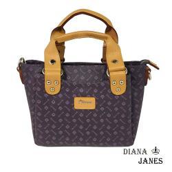 包【Diana Janes 黛安娜】晶鑽LOGO小巧兩用手提包-紫