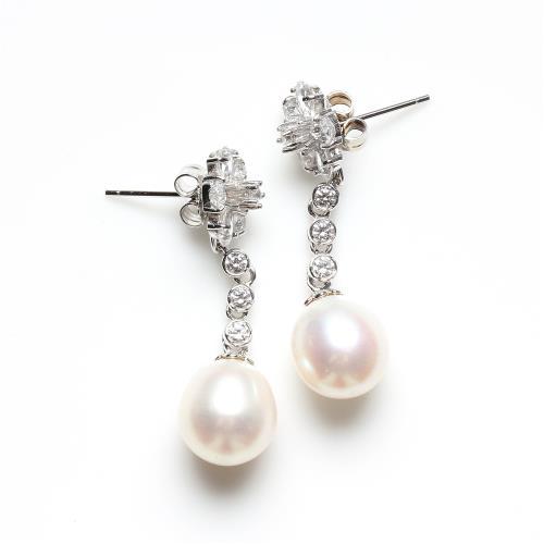 【寶石方塊】天然珍珠耳環-925銀飾-粉白珠圓/