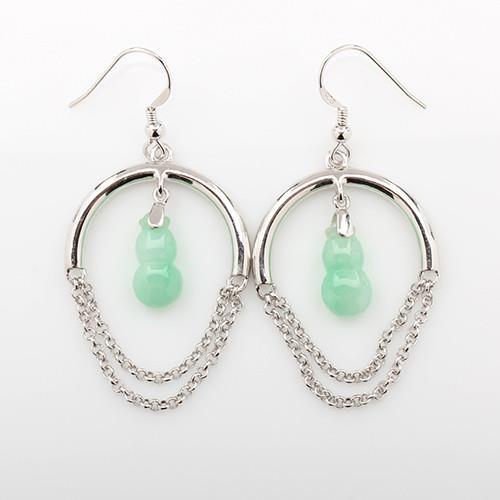 【雅紅珠寶】天然翡翠葫蘆耳環-925銀飾-平平安安/