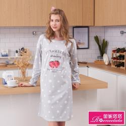 【蕾妮塔塔】甜心草莓 針織長袖連身睡衣(R95215-6兩色可選)