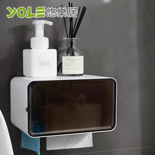 YOLE悠樂居-浴室無痕貼多功能收納捲筒紙巾架紙巾盒x2入