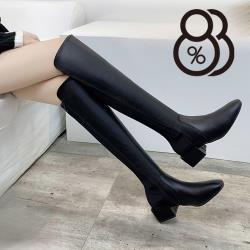 【88%】4.5CM長靴 率性百搭皮革拼萊卡 筒高40CM側拉鍊方頭粗跟靴 過膝靴 膝上靴