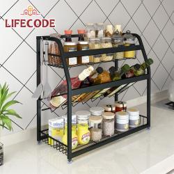 LIFECODE[收納王]304不鏽鋼炭黑-三層置物架/調料架-寬35cm