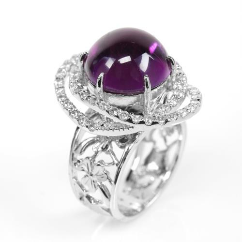 【寶石方塊】天然紫水晶戒指-925銀飾-綽約多姿/