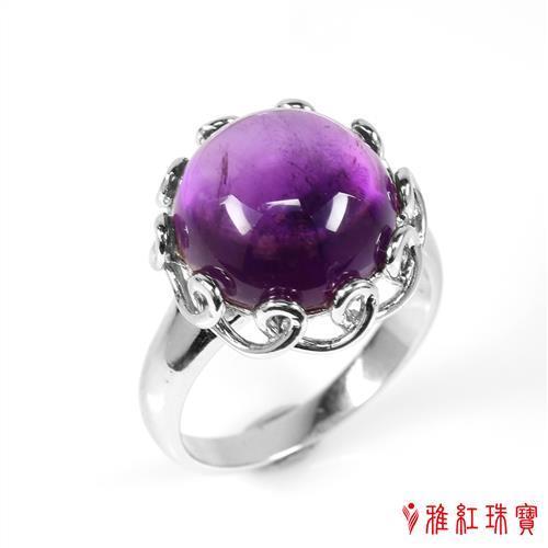 【寶石方塊】天然紫水晶戒指-春暖花開-925純銀飾/