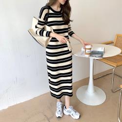 【KISSDIAMOND】慵懶居家條紋長版針織洋裝-KDD-6090( 休閒/年輕/舒適/減齡)