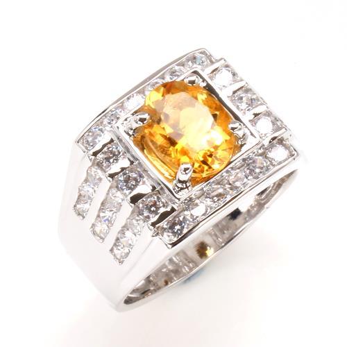 【寶石方塊】飛黃騰達天然2克拉黃水晶戒指-活圍設計/